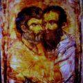 Grcki ili srpski (primorski) majstor - Grljenje apostola Petra i Pavla XIV i XV v., tempera na dasci, 30 X 24 X 2,6 cm