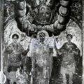 Grcki majstor - Bogorodica sa Hristom (Znamenja) i svetiteljima druga pol. XVII v., tempera na platnu kasiranom na drvo, 36 X 28 X 2 cm