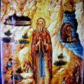 Kritski majstor - sv. Jovan Pustinjak Kritski sa zitijem pol. XVII v., tempera na dasci, 25, 8 X 33 X 2 cm