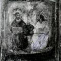 Retus domaceg slikara (Nenko Solak Dmitrov) po ruskoj ikoni iz XVII v. - Sv. Trojica 1684., tempera na dasci, 28,7 X 23 X 2,3 cm